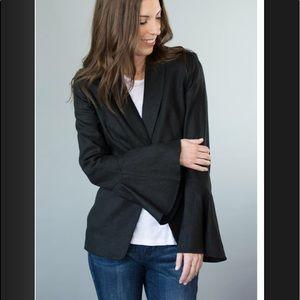 Free People Flared Sleeve Linen Blazer in Black.